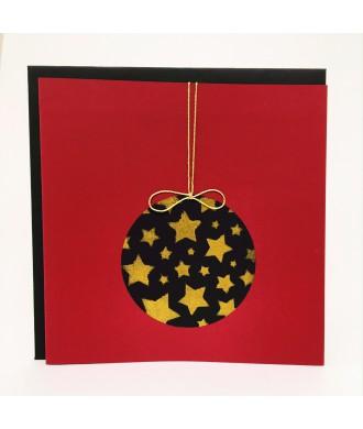 Carte boule de Noël noir rouge