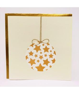 Carte boule de Noël beige