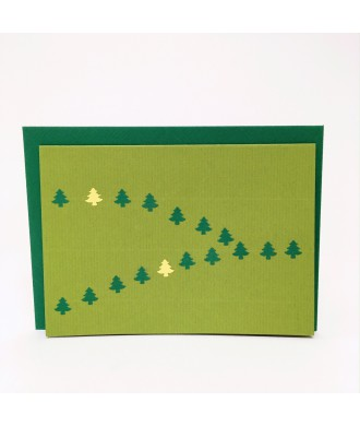 Carte petits sapins verts