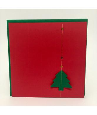 Carte sapin vert rouge