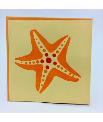 Carte pochoir étoile de mer