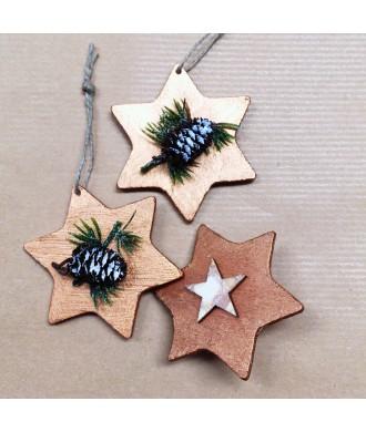 étoiles déco en bois