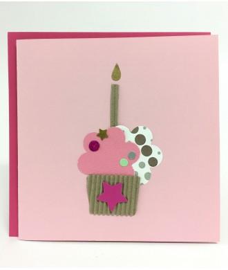 Carte cupcake rose anniversaire