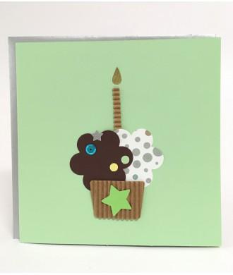 Carte cupcake vert anniversaire