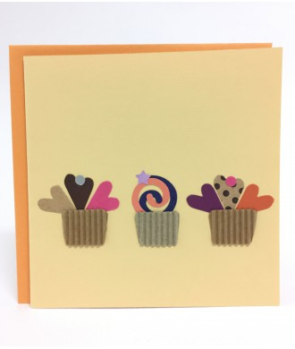 Carte petits cupcake saumon