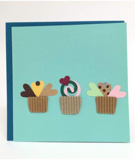 Carte petits cupcake turquoise