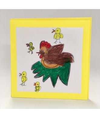 Carte de Pâques dessin poule