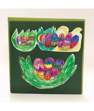 Carte de Pâques dessin oeufs