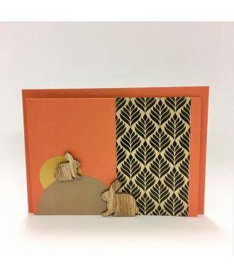 Carte de Pâques lapins en bois