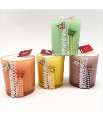 Bougies pot verre couleurs - sans parfum