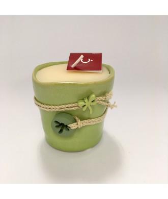Bougie pot terre cuite émail - vanille