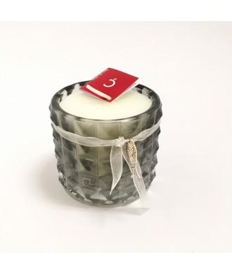 Photophore ciselé en verre gris - Fleur de coton