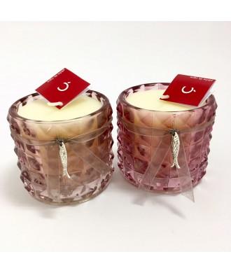 Photophore ciselé en verre rose - pêche de vigne