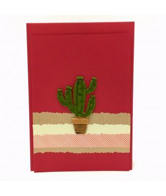 Carte cactus rouge