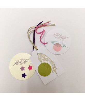 Etiquettes plumes (3 pièces)