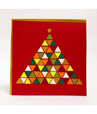 Carte sapin géométrique ton rouge-vert