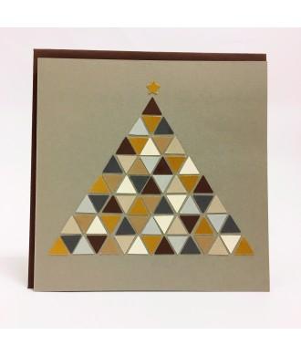 Carte sapin géométrique ton beige-gris