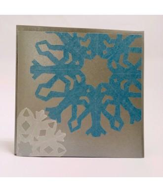 Carte grand flocon bleuté découpé