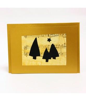 Carte partition musique dorée