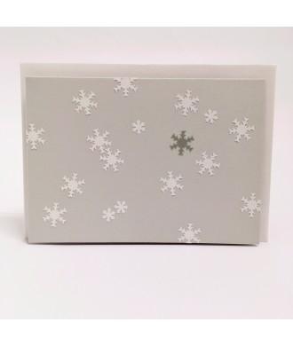 Carte flocons de neige fond gris