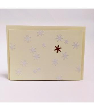 Carte flocons de neige fond beige