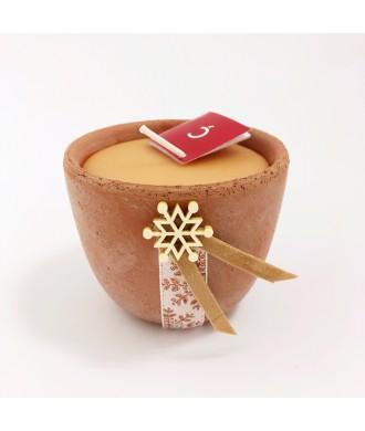 Bougie petit pot terre cuite - Ambre