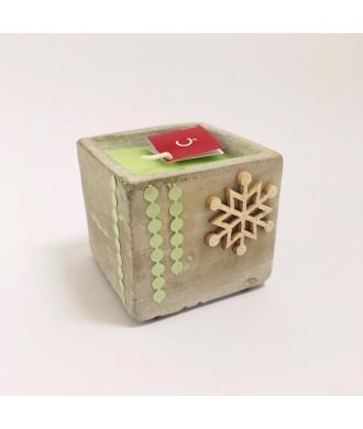 Bougie pot béton carré - thé vert