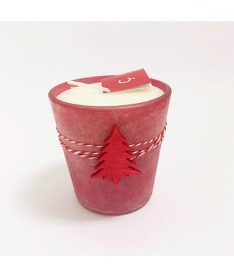 Bougie pot verre LINDE rouge - Fleur de coton