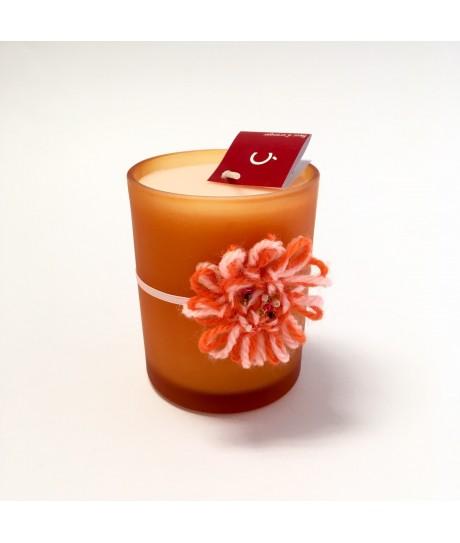 Bougie pot verre orange - Fleur d'oranger