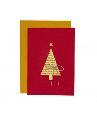 Carte Sapin de Noël rouge-doré
