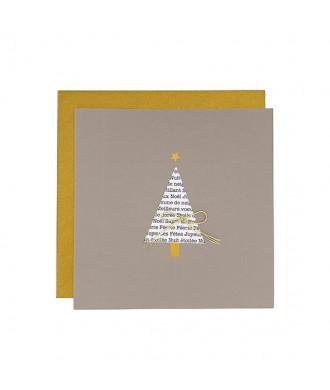 Carte sapin de Noël gris-doré