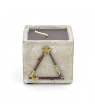 Bougie pot béton carré - Cannelle