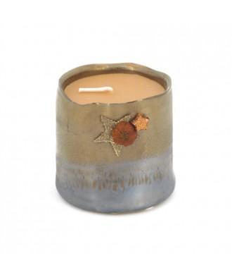 Bougie pot céramique brun cuivré - Ambre