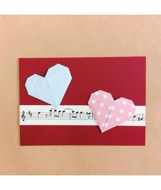 Carte cœurs origami musique