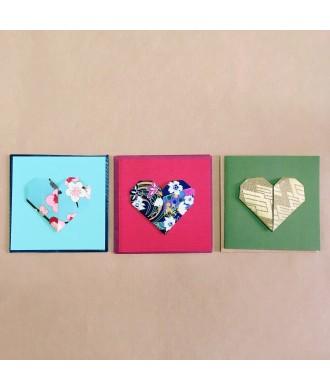 mini-cartes avec enveloppe cœur origami