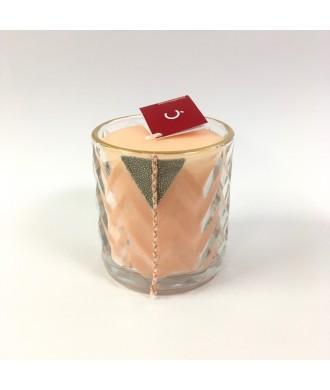Bougie pot verre avec chevrons - Pamplemousse