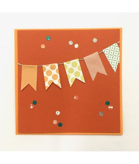 Carte anniversaire fanions (orange)