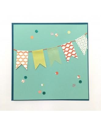 Carte anniversaire fanions (turquoise)