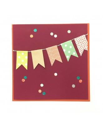 Carte anniversaire fanions (bordeau)