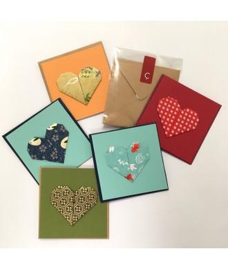 mini-cartes avec enveloppe cœur origami (différents modèles) carte et enveloppe fait-main