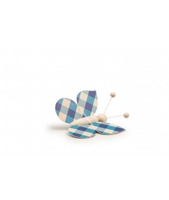 Papillon carreau bleu avec fil