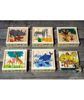 Puzzle animaux sauvages cube de bois (16 p.)