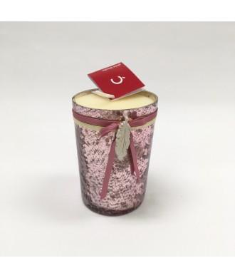 Bougie Photophore rose brillant - Pêche blanche
