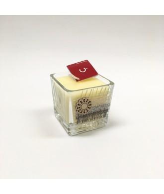 Bougie cube verre 6x6 - Fleur de coton