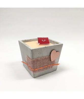 Bougie pot carré ciment - Pamplemousse