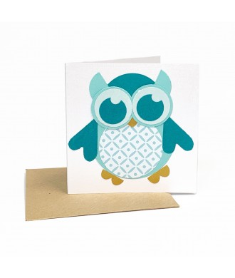 Mini-carte hibou bleue