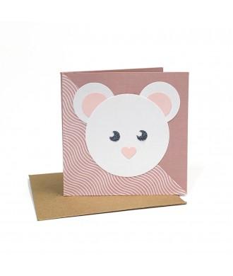 Mini-carte souris rose