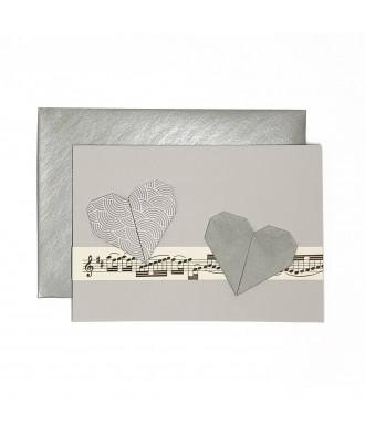 Carte cœurs origami musique gris