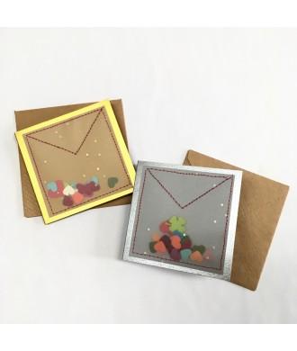 Mini-carte confettis cœurs