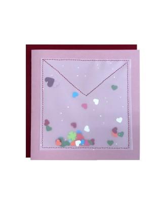 Carte enveloppe confettis cœurs